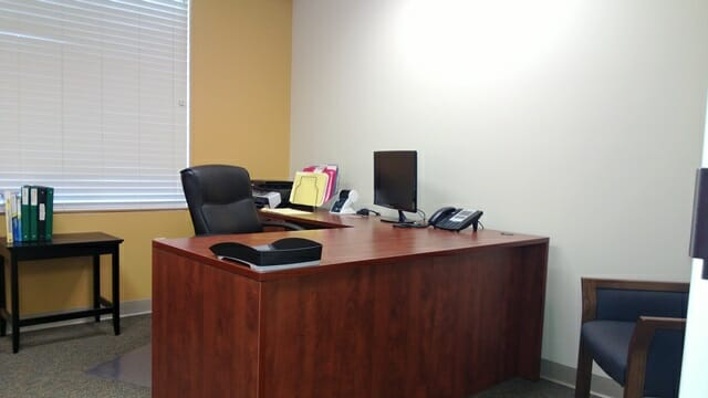office with desk and computer monitor